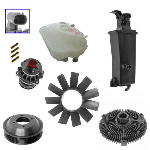 00-05 BMW 3 Series Water Pump & Pulley, Fan Blade & Clutch, Coolant Sensor, Expansion Tank & Cap Kit