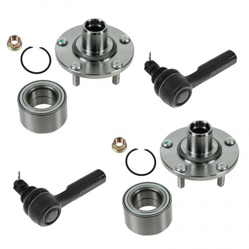 Front Wheel Hubs, Bearings & Outer Tie Rod Kit for Nissan Altima Maxima