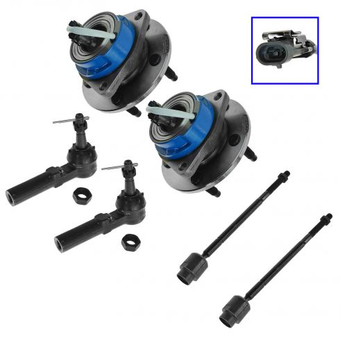 97-05 GM Cars Front Hub assembly & Inner/Outer Tie Rod Kit 6pc