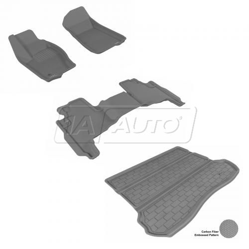 2005-10 Jeep Grand Cherokee Gray Front, Rear, and Cargo Floor Liner Set