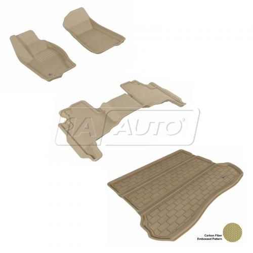2005-10 Jeep Grand Cherokee Tan Front, Rear, and Cargo Floor Liner Set