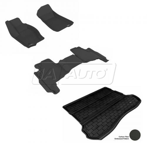 2005-10 Jeep Grand Cherokee Black Front, Rear, and Cargo Floor Liner Set