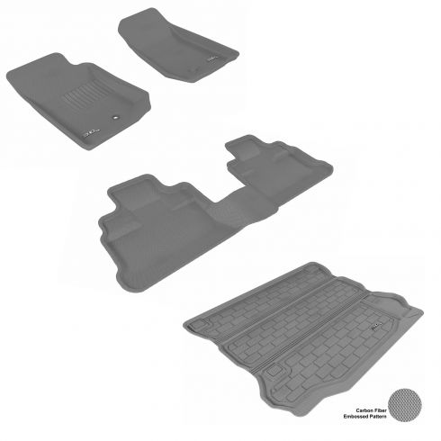 07-13 Jeep Wrangler Unlimited Gray Front, Rear, and Cargo Floor Liner Set
