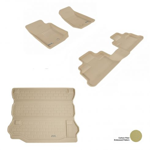 07-13 Jeep Wrangler Unlimited Tan Front, Rear, and Cargo Floor Liner Set