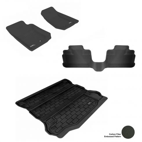 07-13 Jeep Wrangler Unlimited Black Front, Rear, and Cargo Floor Liner Set