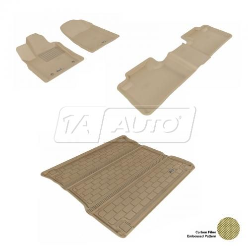 11-13 Jeep Grand Cherokee, Dodge Durango Tan Front, Rear, and Cargo Floor Liner Set
