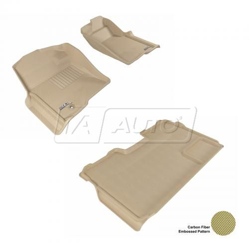 09-13 Ford F150 Super Crew Tan Front & Rear Floor Liner Set