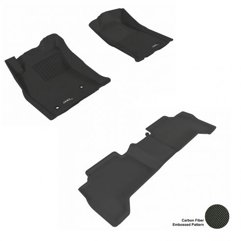 05-11 Tacoma (With 2 retention hooks) Double Cab Black Front & Rear Floor Liner Set
