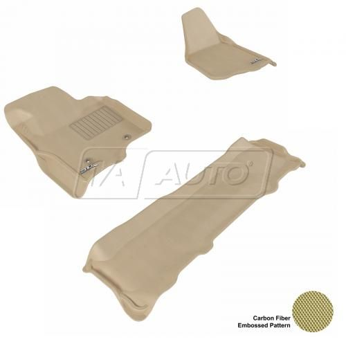 11-13 Ford Super Duty SuperCrew Tan Front & Rear Floor Liner Set