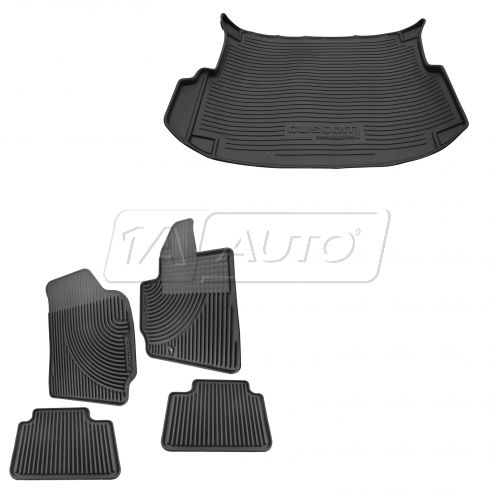 05-10 Ford Escape Front, Rear, & Cargo Molded Ebony Rubber Floor Mat Kit (Set of 4) (Ford)