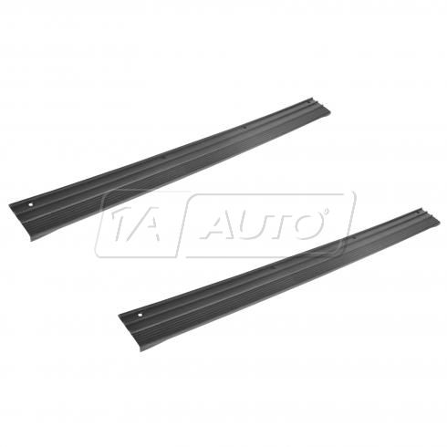 87-96 F150, Bronco; 87-97 F250, F350; 90-98 FSD Frt Dr Sill Opening Black Scuff Plate Pair (Ford)