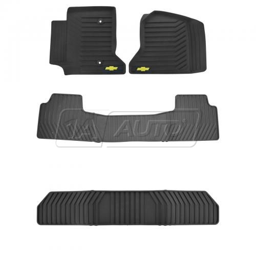 2015 GM Full Size SUV Black Molded Premium Rubber All Weather Floor Mat Set of 3 (GM)