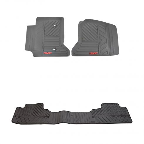 14-15 Sierra 1500; 15 2500, 3500 Molded Rubber Cocoa ~GMC~ Logoed Front & Rear Floor Mat Kit (GM)