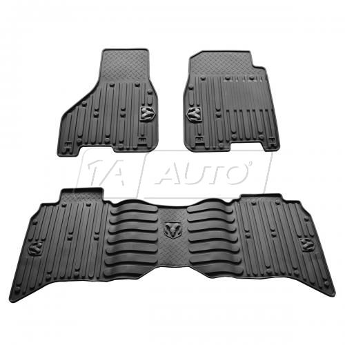 13-14 Ram 1500 Crew Cab, 2500, 3500 Crew & Mega Cab Black Front & Rear Rubber Floot Mat SET (MOPAR)