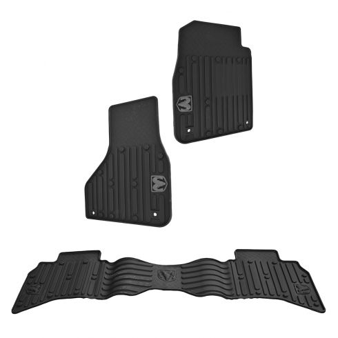 13-15 Ram 1500, 2500, 3500 Quad Cab Front & Rear Molded Black Rubber Floor Mat Kit(Set of 4) (Mopar)