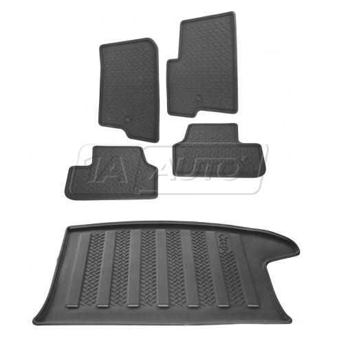 07-15 Jeep Compass, Patriot Molded Rubber Slate Gray Front, Rear & Cargo Floor Mat (Set of 5)(Mopar)