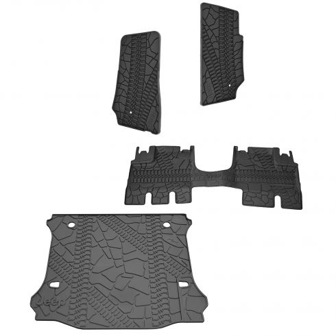 07-15 Jeep Wrangler 4 Door Unlimited Front, Rear, & Cargo Molded Black Rubber Floor Mat Set (MOPAR)