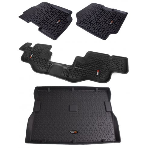 76-86 CJ7; 81-86 CJ8; 87-95 Wrangler Black Front, Rear & Cargo Floor Liner (Set of 4) (Rugged Ridge)