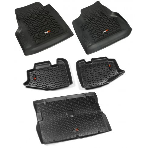 97-06 Jeep Wrangler Black Front, Rear & Cargo Floor Liner (Set of 5) (Rugged Ridge)