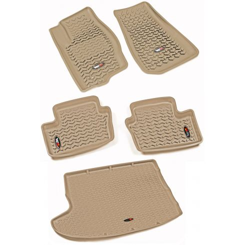 07-12 Caliber; 07-14 Compass, Patriot Tan Front, Rear & Cargo Floor Liner (Set of 4)(Rugged Ridge)