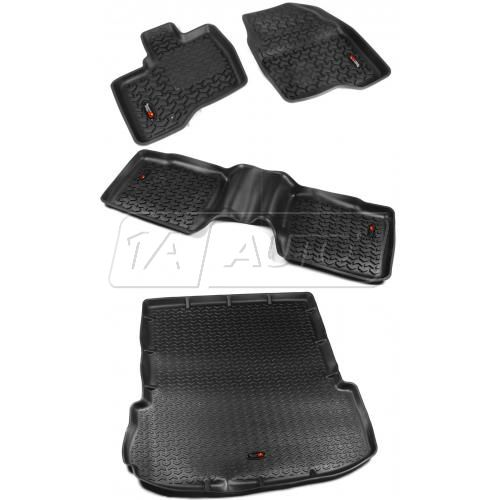 11-14 Ford Explorer Black Front, Rear, & Cargo Area Floor Liner (Set of 4) (Rugged Ridge)