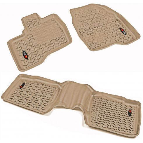 11-14 Ford Explorer Tan Front & Rear Floor Liner (Set of 3) (Rugged Ridge)
