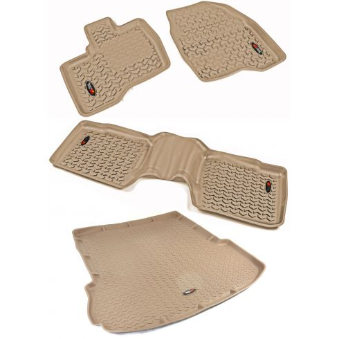 11-14 Ford Explorer Tan Front, Rear, & Cargo Floor Liner (Set of 4) (Rugged Ridge)