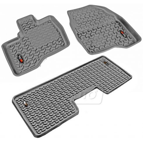 11-14 Ford Explorer Gray Front & Rear Floor Liner (Set of 3) (Rugged Ridge)