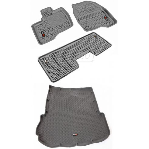 11-14 Ford Explorer Gray Front, Rear, & Cargo Floor Liner (Set of 4) (Rugged Ridge)