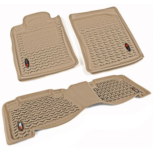 10-14 Toyota 4Runner Tan Front & Rear Floor Liner (Set of 3) (Rugged Ridge)