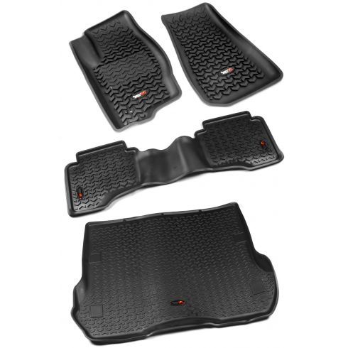 05-10 Grand Cherokee; 06-10 Commander Black Front, Rear, Cargo Floor Liner (Set of 3) (Rugged Ridge)