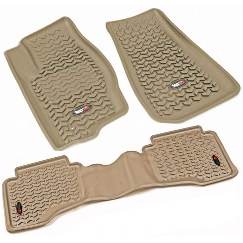 05-10 Jeep Grand Cherokee; 06-10 Commander Tan Front & Rear Floor Liner (Set of 3) (Rugged Ridge)