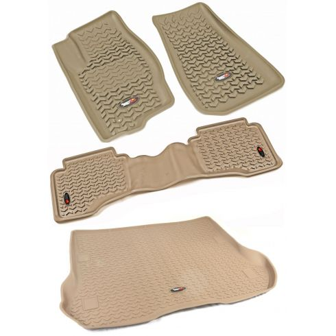 05-10 Grand Cherokee; 06-10 Commander Tan Front, Rear, & Cargo Floor Liner (Set of 3) (Rugged Ridge)