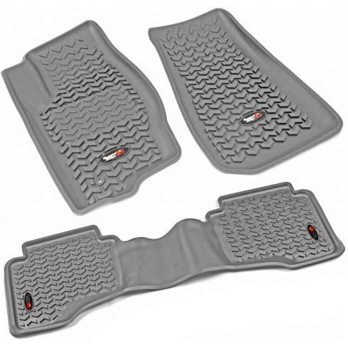 05-10 Jeep Grand Cherokee; 06-10 Commander Gray Front & Rear Floor Liner (Set of 3) (Rugged Ridge)