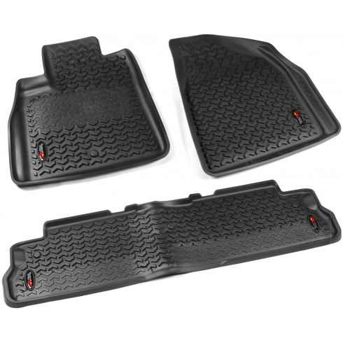 07-14 Acadia; 08-14 Enclave; 07-10 Outlook; 09-14 Traverse Black Frt & Rr Floor Liner (Rugged Ridge)