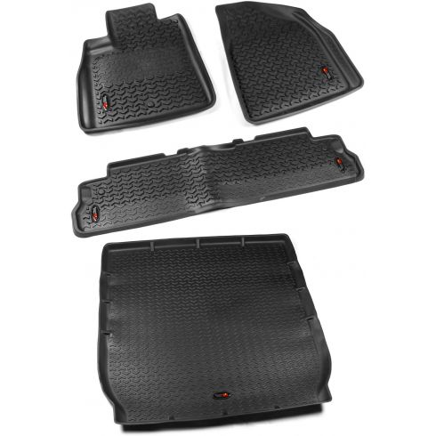08-14 Buick Enclave; 09-14 Chevy Traverse Black Front, Rear, & Cargo Liner (Set of 4) (Rugged Ridge)