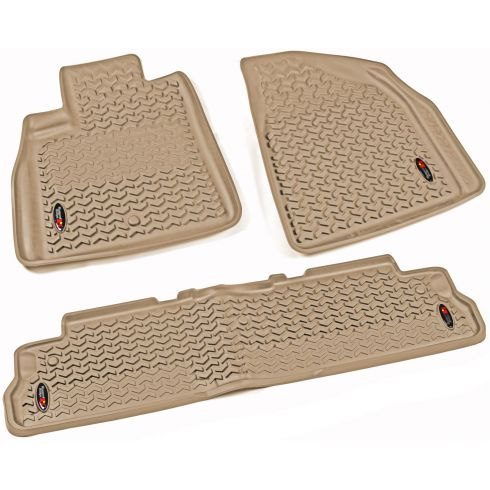 07-14 Acadia; 08-14 Enclave; 07-10 Outlook; 09-14 Traverse Tan Frt & Rr Floor Liner (Rugged Ridge)