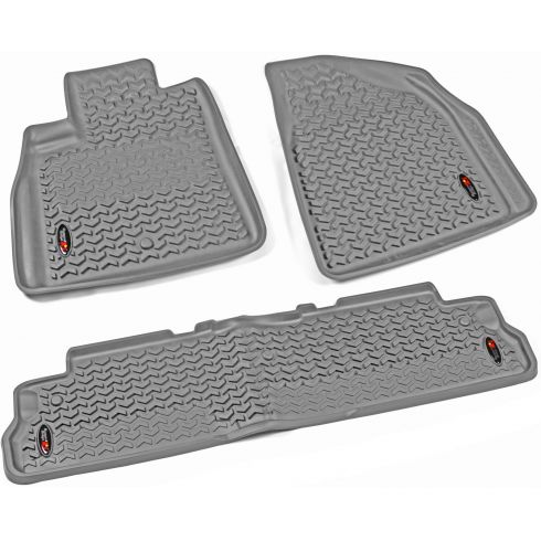 07-14 Acadia; 08-14 Enclave; 07-10 Outlook; 09-14 Traverse Gray Frt & Rr Floor Liner (Rugged Ridge)