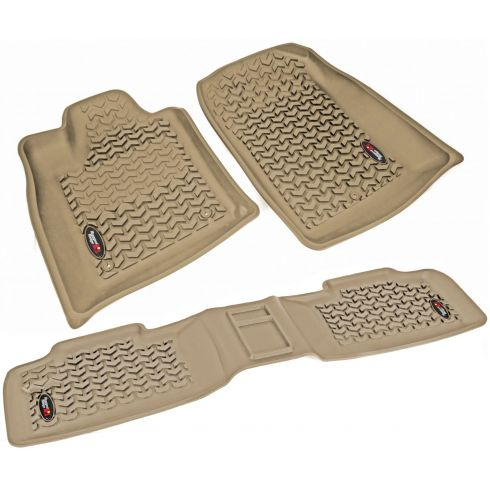 11 Dodge Durango, Jeep Grand Cherokee w/1 RH Hook Tan Front & Rear Floor Liner Kit (Rugged Ridge)