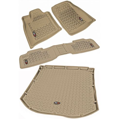 11 Durango, Grand Cherokee w/1 RH Hook Tan Front, Rear, & Cargo Floor Liner Kit (Rugged Ridge)