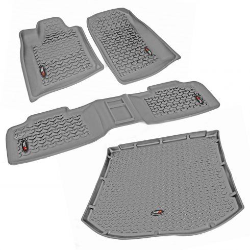 11 Durango, Grand Cherokee w/1 RH Hook Gray Front, Rear, & Cargo Floor Liner Kit (Rugged Ridge)