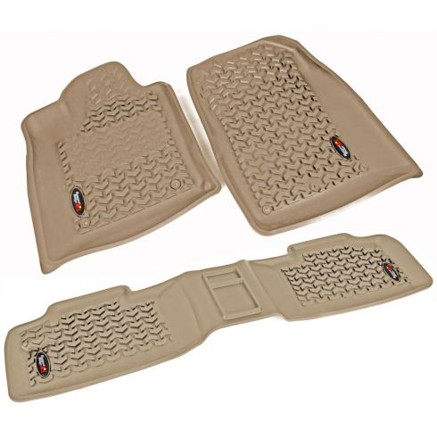12-14 Dodge Durango, Jeep Grand Cherokee w/RH 2 Hook Tan Front & Rear Floor Liner Kit(Rugged Ridge)
