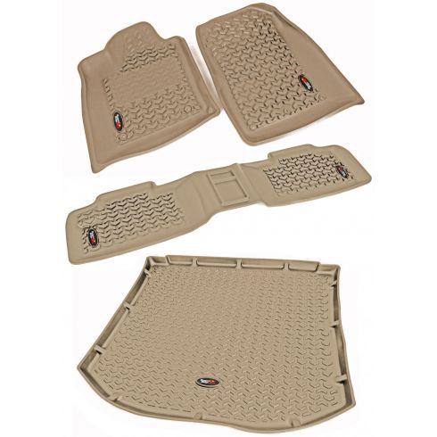 12-14 Dodge Durango, Jeep Grand Cherokee w/RH 2 Hook Tan Frt, Rear, Cargo Floor Liner (Rugged Ridge)