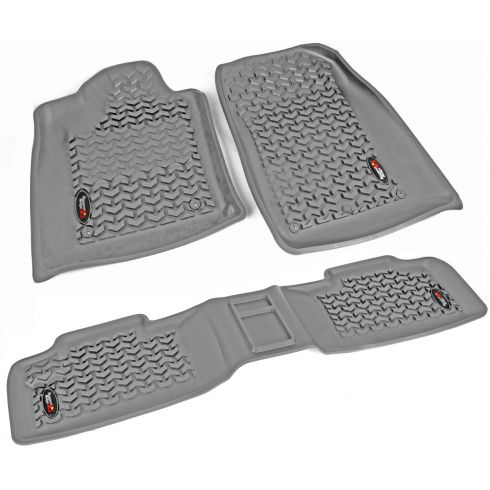 12-14 Dodge Durango, Jeep Grand Cherokee w/RH 2 Hook Gray Front & Rear Floor Liner Kit(Rugged Ridge)