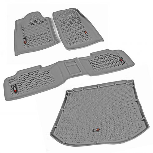 12-14 Dodge Durango, Jeep Grand Cherokee w/RH 2 Hook Gray Frt, Rear, Crgo Floor Liner (Rugged Ridge)