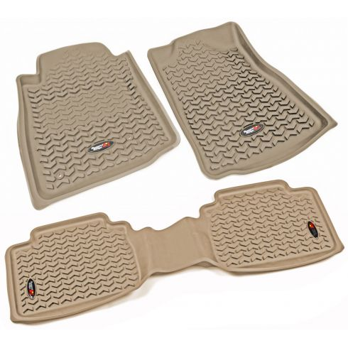 05-11 Toyota Tacoma w/AT & Std Hook Tan Front & Rear Floor Liner Kit (Set of 3) (Rugged Ridge)