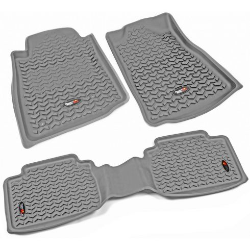05-11 Toyota Tacoma w/AT & Std Hook Gray Front & Rear Floor Liner Kit (Set of 3) (Rugged Ridge)