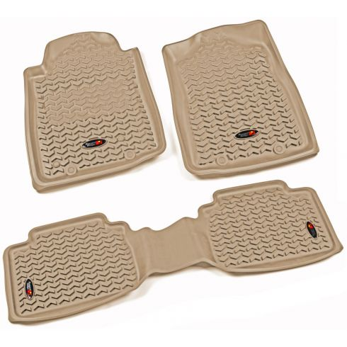 12-14 Toyota Tacoma w/AT & Twist Hook Tan Front & Rear Floor Liner Kit (Set of 3) (Rugged Ridge)