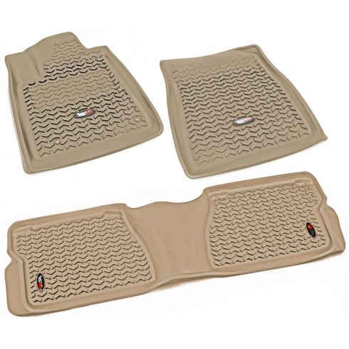 12-14 Toyota Tundra, Sequoia w/Twist Hook Tan Front & Rear Floor Liner (Set of 3) (Rugged Ridge)