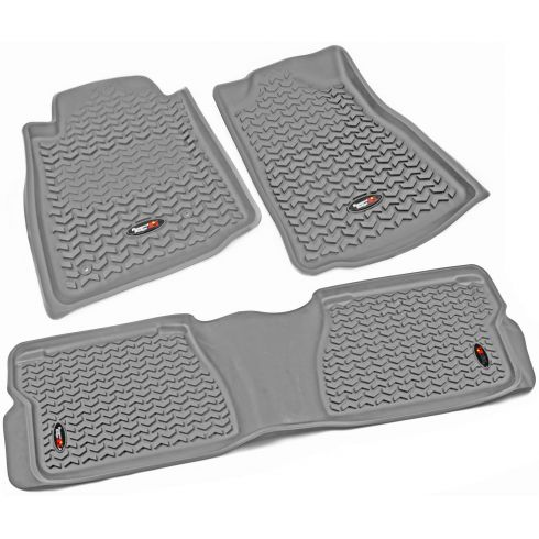 12-14 Toyota Tundra, Sequoia w/Twist Hook Gray Front & Rear Floor Liner (Set of 3) (Rugged Ridge)